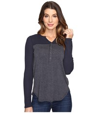 Splendid Thermal Mixed Media Henley Ink Women's Long Sleeve Pullover Navy