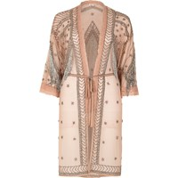 River Island Womens Light Pink Embellished Kimono