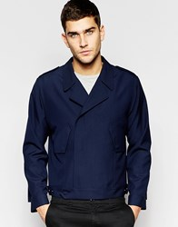 Asos Smart Jacket In Navy With Military Detailing Navy