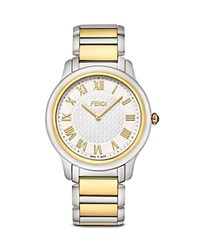 Fendi Large Two Tone Classico Watch 40Mm Silver Gold