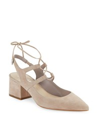 424 Fifth June Suede Slingbacks Taupe