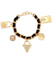 Guess Gold Tone Faux Suede And Pave Charm Bracelet