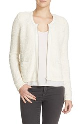 Joie Women's 'Jacolyn B' Leather Trim Cardigan Porcelain