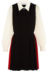 Sonia Rykiel Pleated Cutout Silk Crepe De Chine Dress Black