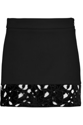 Maje Kelis Cutout Velvet Paneled Crepe Mini Skirt Black