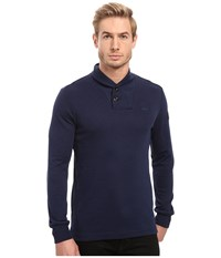 G Star Poult Collar Tee Long Sleeve Imperial Blue Black Men's T Shirt