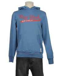 Retro Brand Fleecewear Hooded Sweatshirts Men Slate Blue