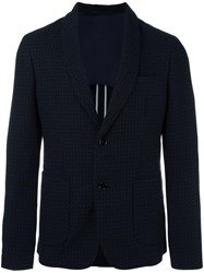 Paolo Pecora Shawl Lapel Patterned Blazer Blue