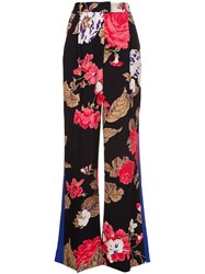 Msgm Floral Flared Trousers Black