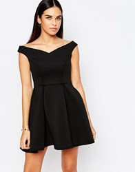 Jessica Wright Amelie Off Shoulder Skater Dress With Pleats Black