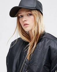 Asos Leather Look Baseball Cap Black