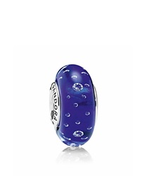 Pandora Design Pandora Charm Murano Glass Sterling Silver And Cubic Zirconia Dark Blue Effervescence Moments Collection Dark Blue Silver