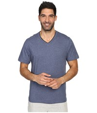 Tommy Bahama Heather Cotton Modal Jersey Short Sleeve V Neck Tee Navy Heather Men's T Shirt Gray