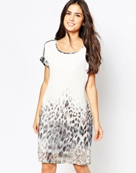 B.Young Animal Print Shift Dress Offwhite