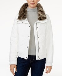 Levi's Faux Fur Trim Bomber Jacket White