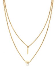 Bcbgeneration Pearl Linear Necklace Gold