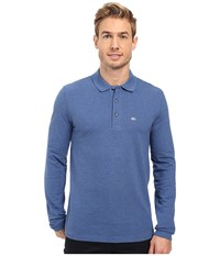 Lacoste Long Sleeve Stretch Grey Croc Pique Polo Storm Chine Men's Clothing Blue