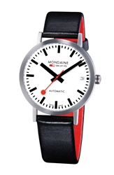 Mondaine 'Classic' Automatic Leather Strap Watch 33Mm Black Silver