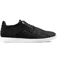 Vico Black Leather Woven Yale Shoes