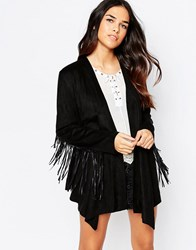 Jovonna Wild West Jacket With Fringing Black