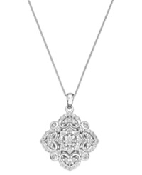 Wrapped In Love Diamond Vintage Pendant Necklace In 14K White Gold 1 2 Ct. T.W.