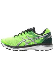 Asics Gelcumulus 18 Cushioned Running Shoes Green Gecko Silver Safety Yellow