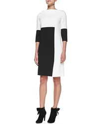 Rena Lange 3 4 Sleeve Colorblock Jersey Dress With Crisscross Hem Women's
