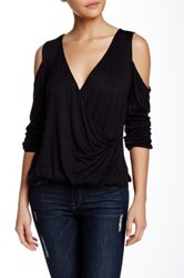 Sweet Pea Cold Shoulder Jersey Blouse Black