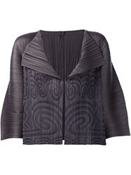Issey Miyake Pleats Please By Tribal Print Jacket Grey