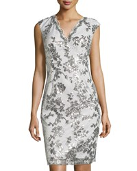Marina Swan Queen Sequined Sheath Dress Silver