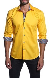 Jared Lang Long Sleeve Solid Semi Fitted Shirt Yellow