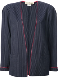 Gianni Versace Vintage Striped Jacket And Skirt Suit Blue