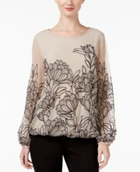 Alfani Embroidered Mesh Blouson Top Only At Macy's New Champagne