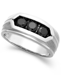 Macy's Men's Black Diamond Ring In Sterling Silver 1 Ct. T.W.