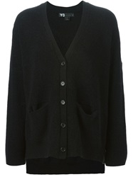 Y 3 Ribbed V Neck Cardigan Black