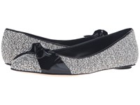 Oscar De La Renta Genna 5Mm White Tweed Black Patent Leather Women's Shoes Gray