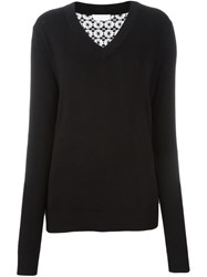 See By Chloe Floral Lace Panel Jumper Black