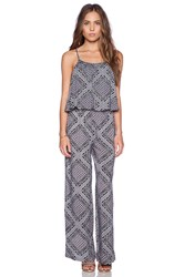 Candc California Printed Tiered Jumpsuit Gray
