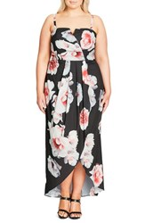 City Chic Plus Size Women's 'Open Rose' Print Tulip Hem Maxi Dress