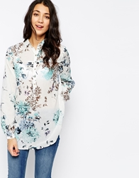 Pieces Floral Print Long Sleeve Shirt Whiteblue