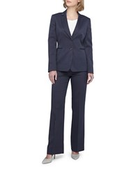 Tahari By Arthur S. Levine Plus Peak Lapel Two Button Jacket Pant Suit Navy Blue