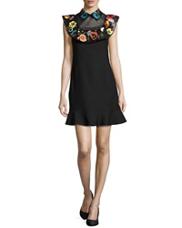 Valentino Beaded Floral Sheer Yoke Dress Black Multi