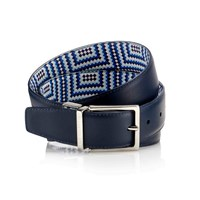 Mark Giusti Reversible Belt Navy And Printed Leather Blue