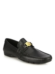 Versace Lizard Embossed Leather Logo Medallion Loafers Black