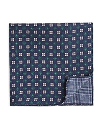 Bloomingdale's The Men's Store At Double Sided Plaid And Floral Print Pocket Square Navy Green