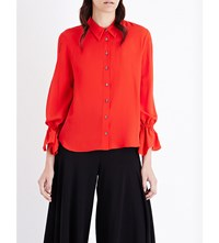 Osman Flared Cuff Silk Crepe De Chine Shirt