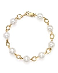 Bloomingdale's Cultured Freshwater Pearl Bracelet In 18K Yellow Gold White Gold