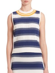 Tanya Taylor Rib Knit Striped Eyelet Tank Top Indigo Multi