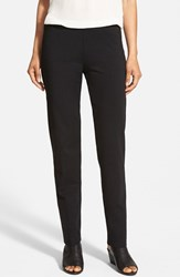 Petite Women's Eileen Fisher Knit Slim Pants Black