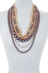 Eye Candy Los Angeles Layered Bead And Faux Pearl Drape Necklace Gray